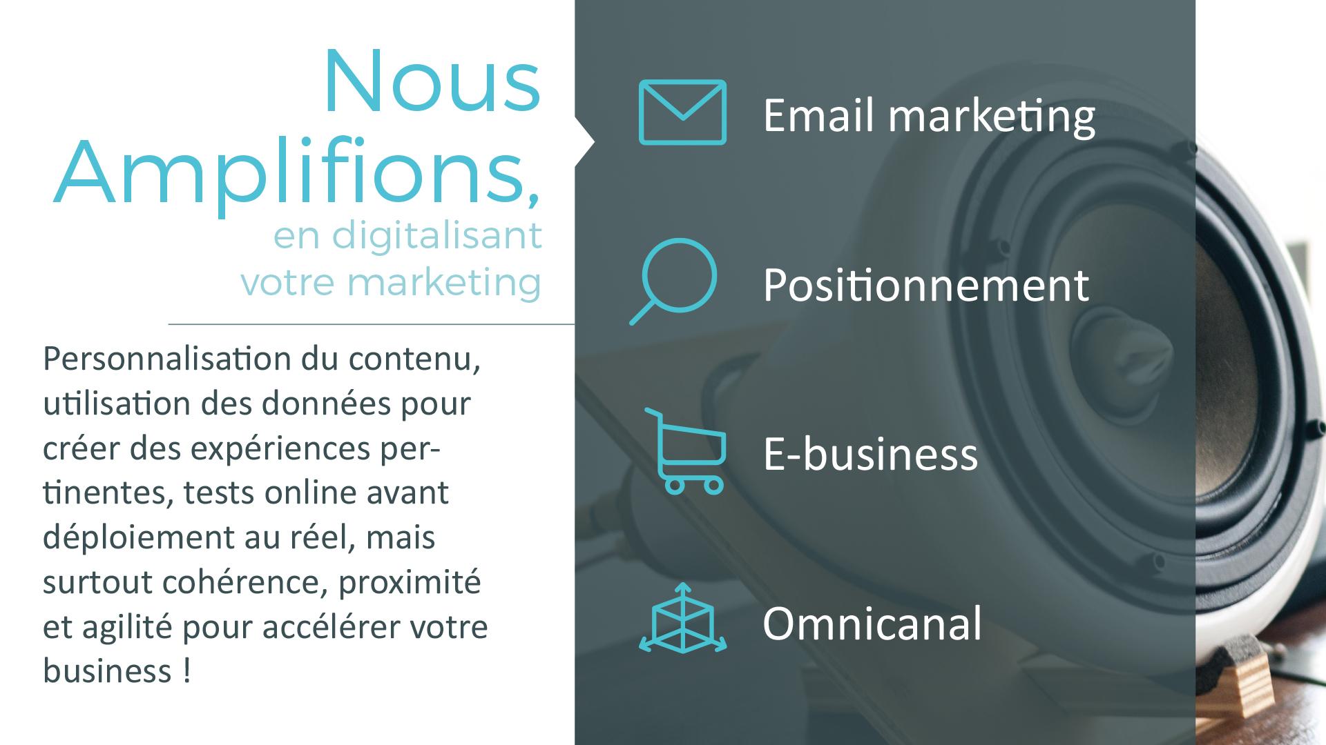 Nous Amplifions, en digitalisant votre marketing : Email marketing - Positionnement - E-business - Omnicanal