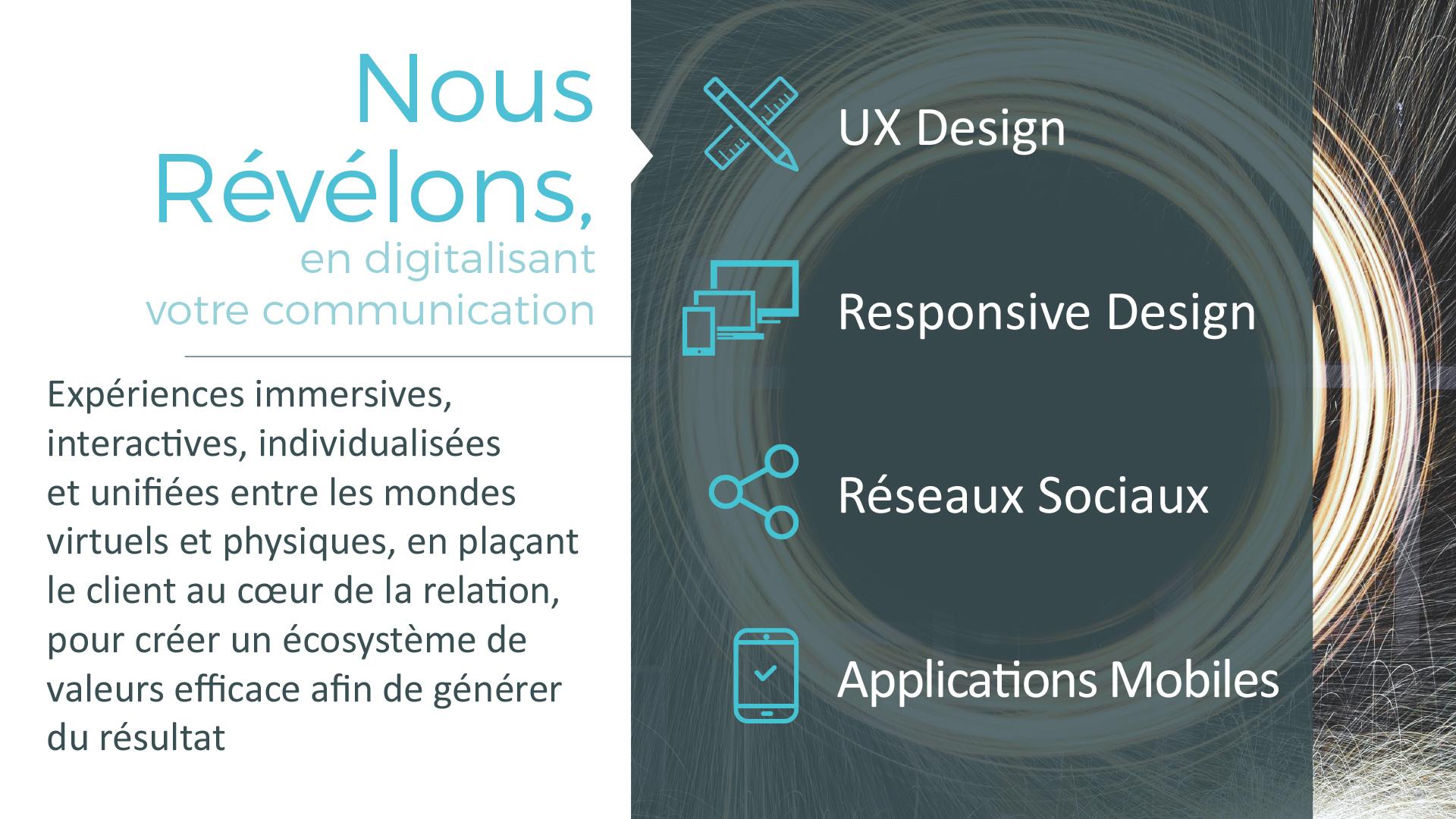 Nous Révélons, en digitalisant votre communication : UX Design - Responsive Design - Réseaux sociaux - Applications mobiles